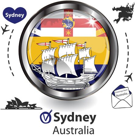 Glossy card with Sydney in Australia with flag, symbol of the city and travel icons 일러스트