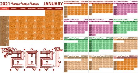 Calendar 2021 in Aztec style with ancient glyphs. Vector image