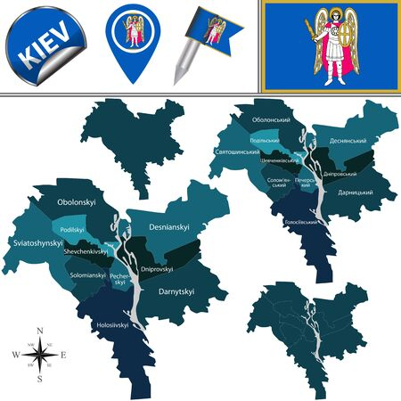 Vector map of Kiev, Ukraine with named districts. There is variation of map where districts are signed in original ukrainian language Иллюстрация
