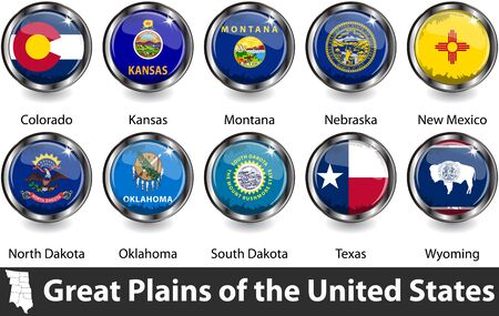 Flags of Great Plains region in the United States. Vector image