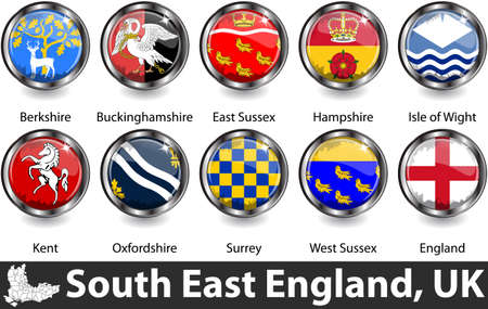 Flags of South East England region, United Kingdom in glossy badges. Vector image
