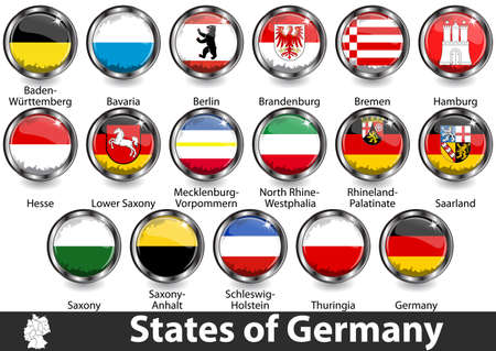 Flags of states of Germany. Vector image Stock Illustratie