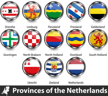 Flags of provinces of the Netherlands. Vector image Vector Illustratie