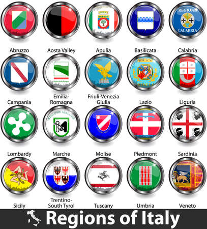 Flags of regions of Italy. Vector image