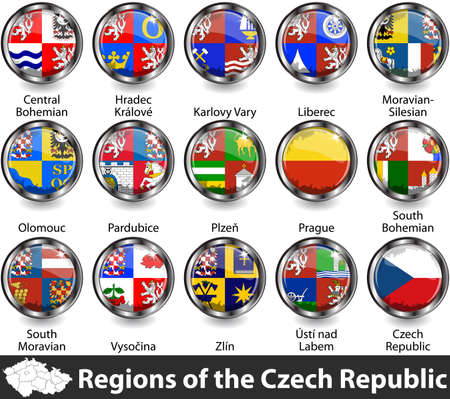 Flags of regions of the Czech Republic. Vector image