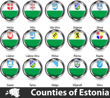 Flags of counties of Estonia. Vector image Ilustração