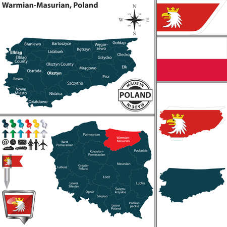 Vector map of Warmian Masurian province and location on Polish map 矢量图像