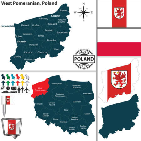 Vector map of West Pomeranian province and location on Polish map