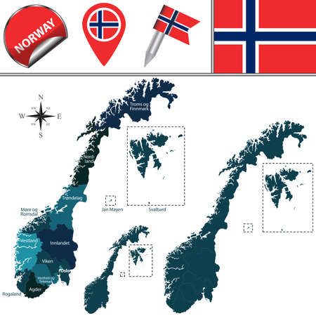 Vector map of Norway with named counties in new edition