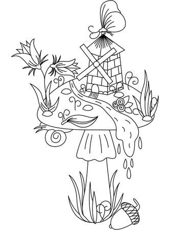 Fairy tale mushroom with windmill, butterfly and meadow plants. Vector image