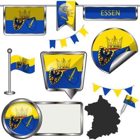 Glossy icons with flag of Essen city, Germany. Vector image Иллюстрация