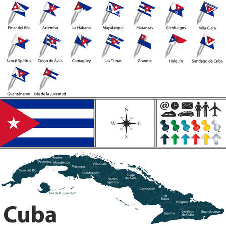 Vector map of Cuba with flags of provinces
