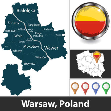 City of Warsaw with districts and location on Polish map. Vector image Ilustração
