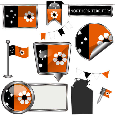 Glossy badges of flag of Northern Territory, Australia. Vector image