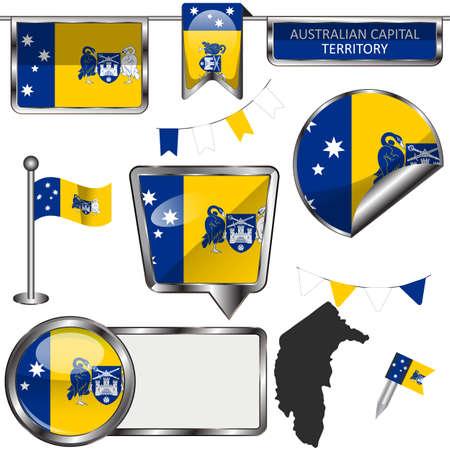 Glossy badges of flag of Australian Capital Territory or ACT, Australia. Vector image
