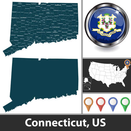 Connecticut state with counties and location on American map. Vector image