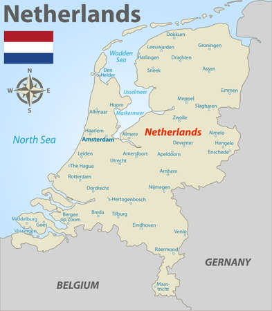 Vector map of Netherlands with cities and icons Vectores