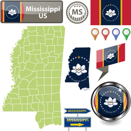 Map of Mississippi state, US with flag and counties. Vector image