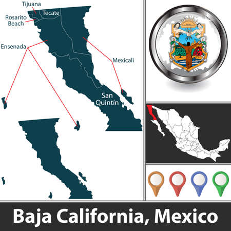 State of Baja California with municipalities and location on Mexican map. Vector image Ilustración de vector