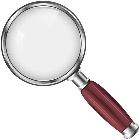 Magnifying glass with red handle on white background. Vector image