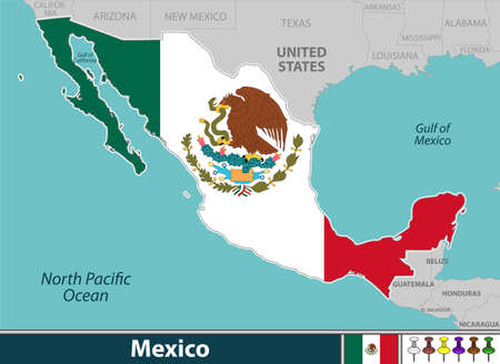 Vector of Mexico with and neighbouring countries and gulf of Mexico Ilustración de vector