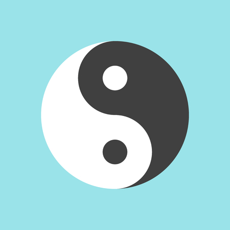 Yin and yang symbol on blue background. Harmony and balance concept. Flat design.