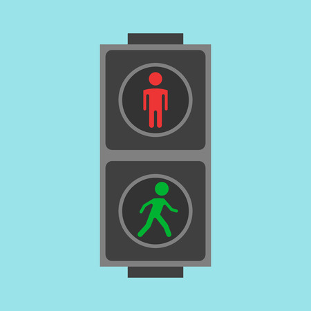 move controller: Pedestrian traffic lights red and green on blue background. Flat design. Illustration