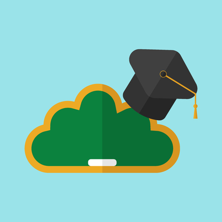 Black hat university on blackboard in the form of clouds on blue background. E-learning concept. Flat design.