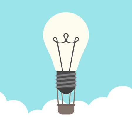 insight: Glowing lightbulb hot air balloon flying above clouds on blue sky background. Inspiration, discovery, idea, growth and insight concept. Flat design. Illustration