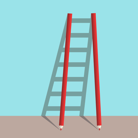 achievable: Ladder of success concept of two pencils with shadow on blue background. Goal, career and creative concept. Flat design. Illustration