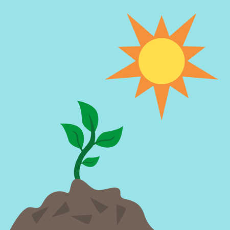 Green young sprout reaching to sun from fertile soil on blue sky background. Life, growth, environment, ecology, nature and spring concept. Flat design. Illustration