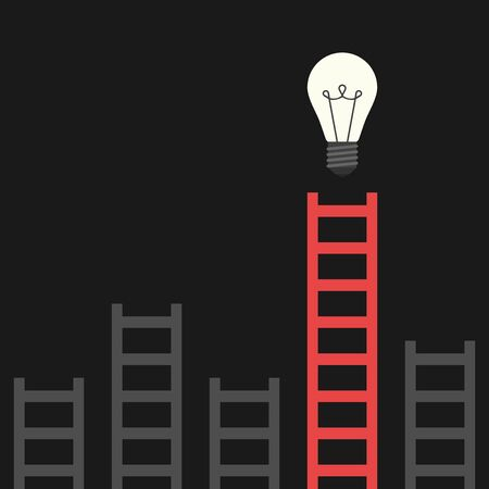 aha: Red unique ladder and many gray ones leading to bright glowing light bulb on black background. Discovery, idea, success and insight concept. Flat design.