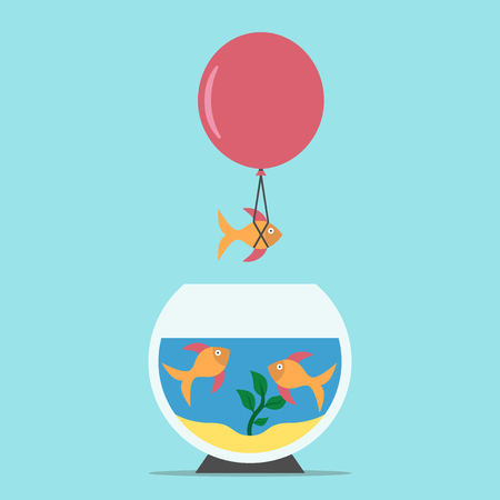 think tank: Gold fish flying away from aquarium on balloon on blue background. Courage, creativity, risk, freedom, competition and success concept. Flat design.