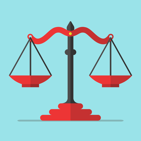 truth: Empty red scales on blue background. Balance, alternative, decision, equality, truth and false concept. Flat design.