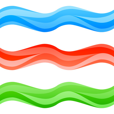 Seamless blue, red and green waves set. Abstract colorful design elements isolated on white. Vector illustration. EPS 10 with transparency and gradients