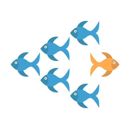Bold unique gold fish standing out from crowd of many blue ones and moving in opposite way. Being different, courage and risk concept. Flat design. Vector illustration. EPS 8, no transparency
