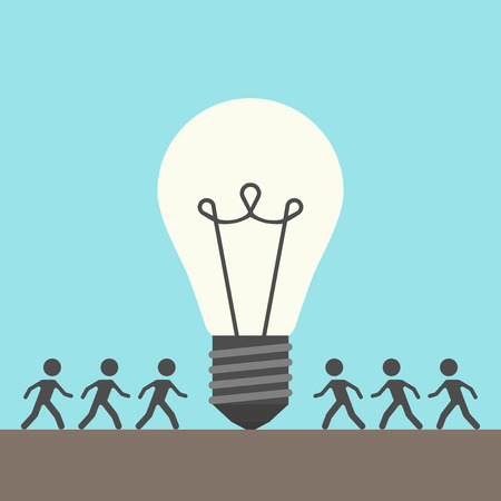 glowing light bulb: Many people walking around large glowing light bulb on blue background. Creative idea, teamwork and business concept. Flat design. Vector illustration. EPS 8, no transparency