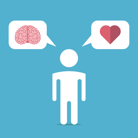 pragmatism: White man silhouette chooses between brain and heart on blue background.