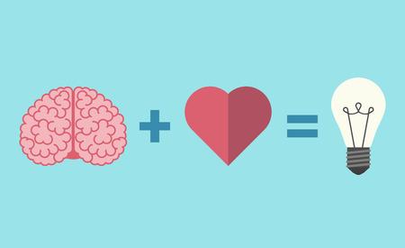 Brain, heart and light bulb equation. Illustration