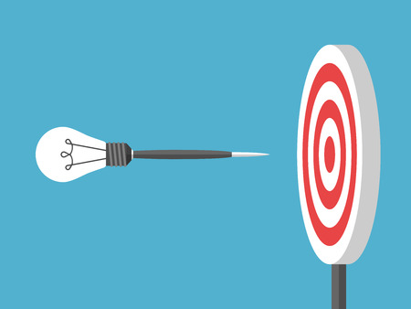 business pitch: Dart with lightbulb flying to target on blue background. Goal, innovation and creativity concept. Flat design. Vector illustration. EPS 8, no transparency