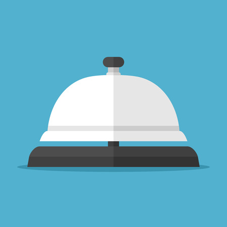 service bell: Service bell isolated on blue on blue background. Help, alarm and support concept. Flat design. Vector illustration. EPS 8, no transparency