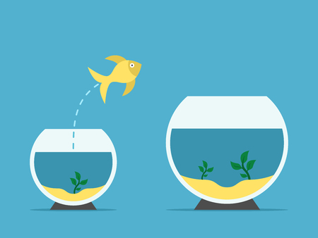 Gold fish jumping from little to large aquarium on blue background. Courage, risk and opportunity concept. Flat design. Vector illustration. EPS 8, no transparency Illustration