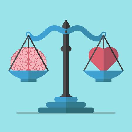 Balanzas cerebro y el corazón sobre fondo azul. El equilibrio, la mente, la lógica y el concepto de emoción. Diseño plano. Ilustración del vector. EPS 8, hay transparencia