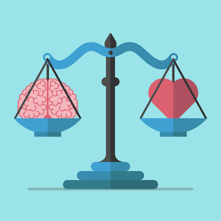 pragmatism: Scales weighing brain and heart on blue background. Balance, mind, logic and emotion concept. Flat design. Vector illustration. EPS 8, no transparency