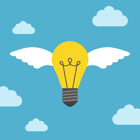 Flying light bulb with white wings on blue sky background. Inspiration, discovery and idea concept. Flat design. Vector illustration. EPS 8, no transparency