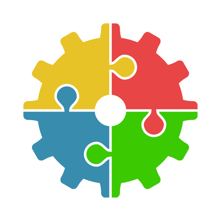 Four joined puzzle pieces of various colors forming cog isolated on white background. Teamwork, cooperation and industry concept. Flat design. Vector illustration. EPS 8, no transparency