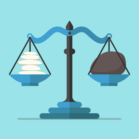 Scales weighing small light and big dark stones on blue background. Balance, harmony and equilibrium concept. Flat design. Vector illustration. EPS 8, no transparency