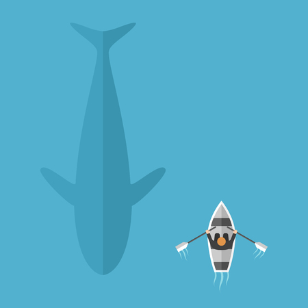 floats: Man in boat floats near big whale in blue ocean. Danger, risk and contrasts concept. Flat design. Vector illustration. EPS 8, no transparency Illustration