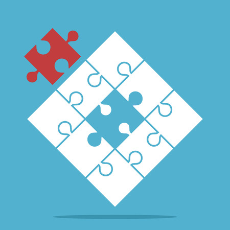 missing link: Puzzle with assembled white and missing red piece on blue background. Teamwork, partnership and solution concept. Flat design. Vector illustration. EPS 8, no transparency