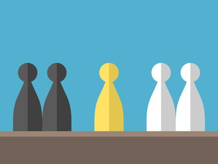 Conflict tussen twee verschillende groepen op een blauwe achtergrond. Bemiddeling, diplomatie en het concept oppositie. Plat ontwerp. Vector illustratie. EPS 8, geen transparantie